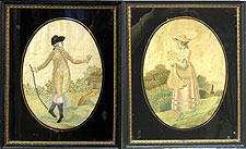 SOLD   A Pair of English Silk Needlework Pictures