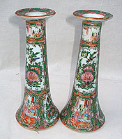 SOLD    A Pair of 19th Century Rose Medallion Candlesticks