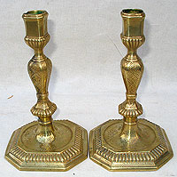 SOLD  A Great Pair of Huguenot Candlesticks