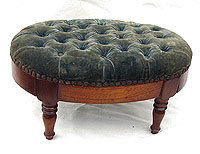 SOLD  A Mahogany Tufted Footstool