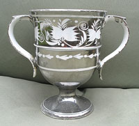 SOLD  Lovely Silver Lustre Resist Loving Cup