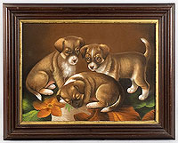 SOLD Portrait of Three Puppies