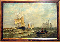 A Marine painting of sailboats.