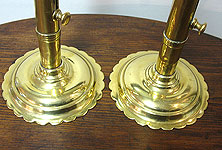 SOLD  A Pair of Petal-base Brass Push-up Candlesticks
