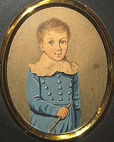 A Miniature Portrait of a Boy in a Blue Jacket