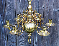 Six Arm Brass Chandelier