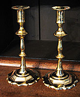 SOLD  Pair of Brass Queen Anne Candlesticks