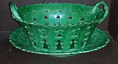 Green glazed basket and tray