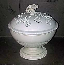 Creamware bowl with pierced cover