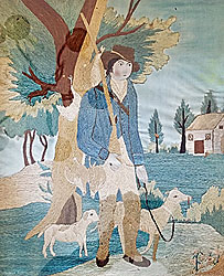 Silk Needlework of Young Hunter