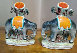 Pair of Staffordshire Elephants