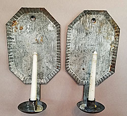 Pair of American Tin Sconces
