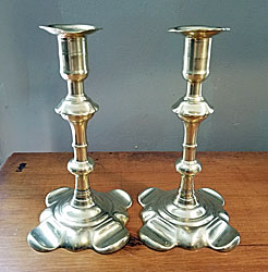 Pair of Signed Brass Candlesticks