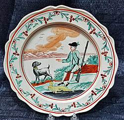 Creamware plate with Hunter