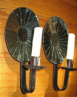 SOLD   Pair of Oval Mirror Sconces