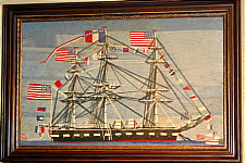 SOLD   Wool Boat Picture with Many American Flags