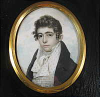 Portrait Miniature on Ivory of a Young Handsome Gentleman